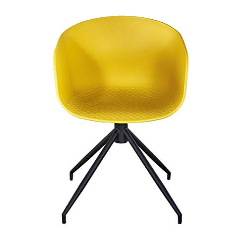 shengshiyujia Moderne Esszimmer Freizeit Stuhl Eisen Kunst Sessel mit Armlehne Verdicken Kunststoff Kreative Hocker, für Büro Lounge Esszimmer Küche,Yellow -