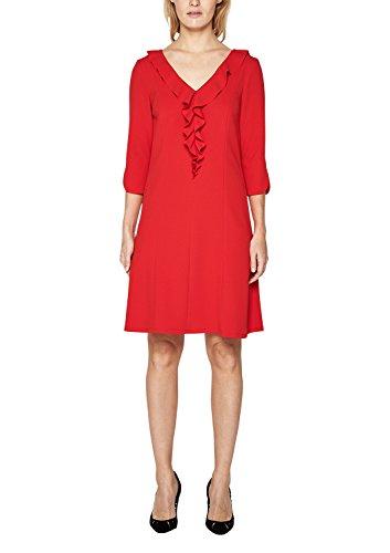 s.Oliver BLACK LABEL Damen Crêpe-Kleid mit Volant-Ausschnitt red 36 (Crêpe-kleid)