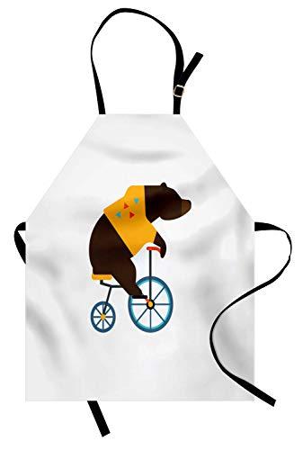 ABAKUHAUS Fahrrad Kochschürze, Große Teddybär-Ikone des Zirkus-Reitfahrrades mit Hippie-Kostüm-Tier-Bild, Farbfest Höhenverstellbar Waschbar Klarer Digitaldruck, Gelb Braun
