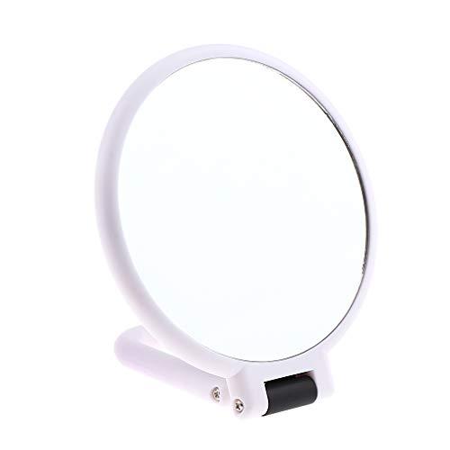 Homyl Doppelseitiger Rund Kosmetikspiegel Handspiegel Make-up Spiegel mit 5/10 Vergrößerungsspiegel Schminkspiegel mit Faltbar Griff - C