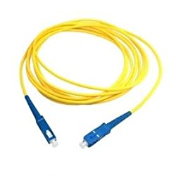 Generic SuperShopperIndia Simplex Single Mode SC to SC Optical Fiber Patch Cord 9/125 Jumper Cable 5 Meters 15 ft (SC/PC - SC/PC)