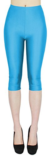 dy_mode Glanz Capri Leggings Damen Bunte Sommer Tanz Leggings Capri glänzende 3/4 Leggins Shiny One Size - 3LG121 (One Size, 3LG121-Himmelblau) Wet-look-capri-leggings