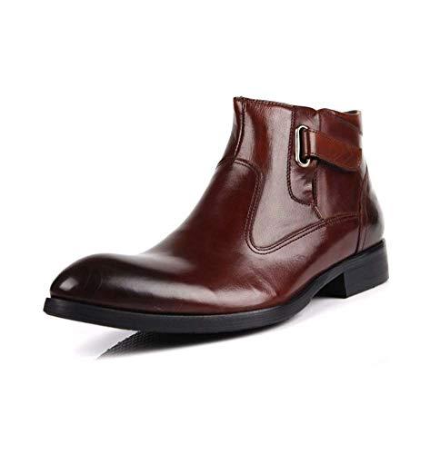 Leather Square Toe Mokassins (HYLFF Men Chelsea Boots, Men Italian Leather Side Zipper Ankle Boots Black Pointed Toe Desert Shoes Vintage Work Formal Dress Footwear,Brown,40EU)