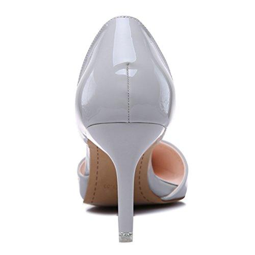Einfache Lackleder Spitze Damen Schmale Klobige Absatz White-Collar Tägliche Arbeitsschuhe Pumps Grau
