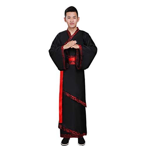 BOZEVON Herren Altertümlich Kostüm - Chinesische Art Retro Hanfu Nationale Traditionelle Kleidung - für Bühnen Performances Cosplay, Schwarz/3XL