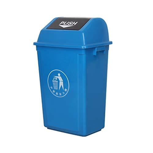 Plastikmülleimer, Haushalt küche Bad mülleimer mit Deckel Hotel Park straße mülleimer Outdoor mülleimer (Farbe : Blau, größe : 60l)