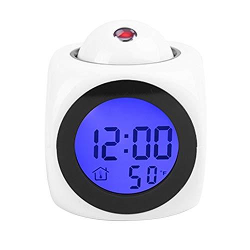 Multifuncional Proyección LCD Voz Que Habla Reloj Despertador Luz de Fondo Reloj de Escritorio Digital...