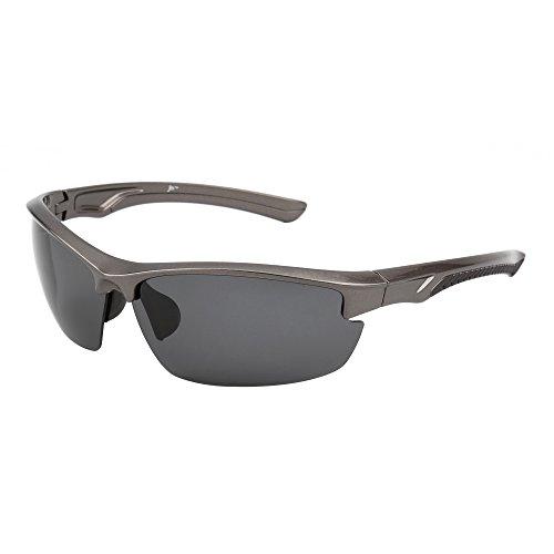 Gafas de Sol Deportes Polarizadas Sin Borde para Mujer Hombre Béisbol Ciclismo Correa Conducir Pesca Golf Excursionismo UV400(Plateado/Polarizado Gris)