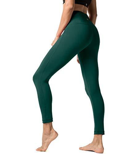 LAPASA Damen Leggings Yoga Sport Pants Lang High Waist L01, Gr.-34/S, Dunklegrün