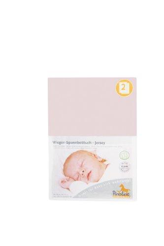Pinolino 540004-7D Doppelpack - Spannbetttuch für Wiegen rosa