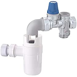 Caleffi 526153 Groupe de Sécurité pour Chauffe-eau 3/4'' Avec Coude Orientable pour Installations Horizontales, Vanne d'Arrêt et Clapet Anti-retour Contrôlable