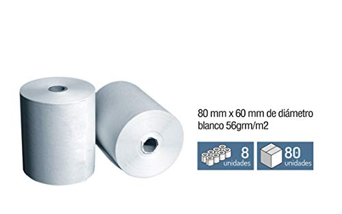 8 Rollos Papel Registradora - Termico 80 mm x Ø 60