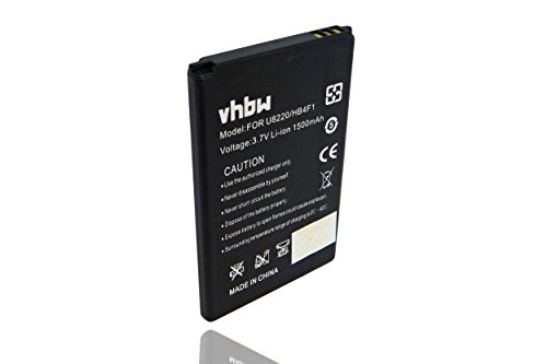 vhbw Li-Ion Akku 1500mAh (3.7V) für Smartphone Telefon Handy Huawei U8800, H, ideos X5 U8800H, M860, P51, T5, T8808D, Titan wie HB4F1, C634104130T.