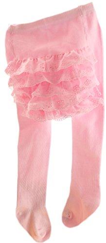 Baby/Kinder Strumpfhose Rüschen am Po Baby Spitzen Taufe Blass-Rosa (18-24 Mon. (86/92))