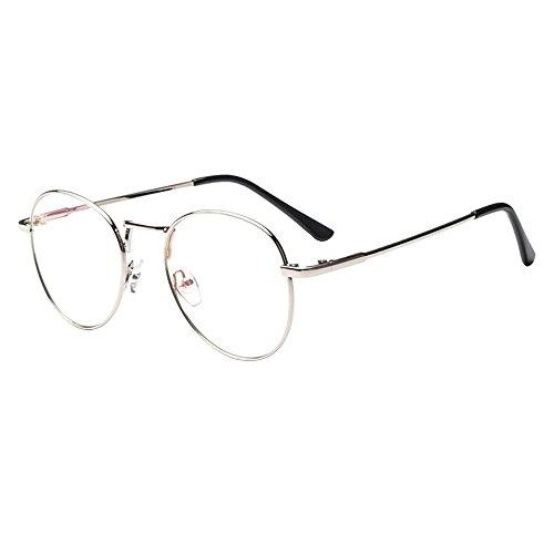 Forepin® Montura para Gafas Hombre y Mujeres Vintage Unisexo Retro del Metal Vidrios Claros de la Manera Gafas Transparent - Plata
