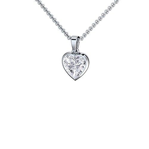 Herzkette Silber 925 ❤ Damen-Kette mit Herz-Anhänger Gravur Zirkonia  Silberkette Frauen Stein Echt-Silber Halskette Ketten-Anhänger Geschenke ... 3719d8d524