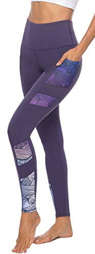 Persit Sporthose Damen, Yoga Leggings Laufhose Yogahose Sport Leggins Tights für Damen Violett-XL