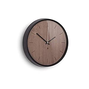 Umbra Madera Wall Clock, Black/Walnut