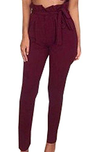2018 Donna Autunno Primavera Vita Alta Della Slim Casual Pants Adatti I Pantaloni Avere Una Cintura di Colore Solido Rosso
