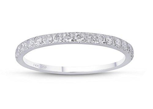 DIAMOND STUDS FOREVER - ANILLO DE BODA DE DIAMANTES - GH/I1 - ORO BLANCO DE 14K
