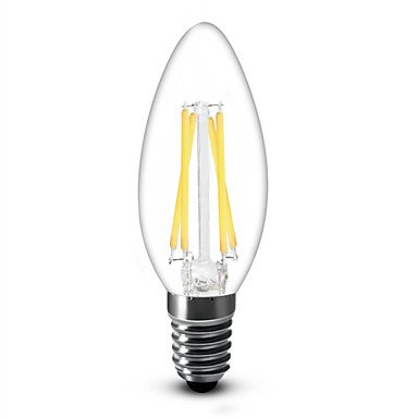 FDH 4W E14 Luces de velas LED C35 4 COB 400 lm blanco cálido atenuable 220-240 V CA 1 PC