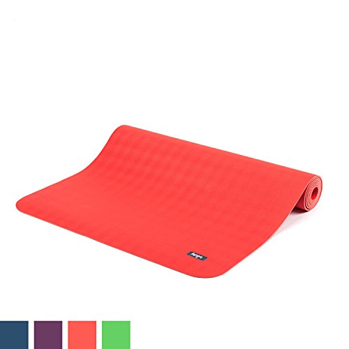 Natur-Kautschuk Yogamatte ECO PRO, extrem rutschfest, 4mm, maschinenwaschbar, 100% Naturmaterial, Ökotex 100, ohne Zusätze, Antirutsch-Yogamatte ECOPRO, 185 x 60cm (karminrot)
