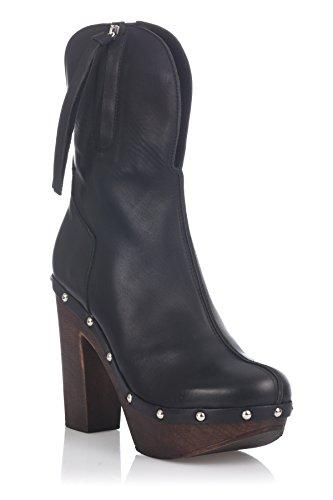 Laura Moretti Swedish Nailed Boot, Bottines femme Noir