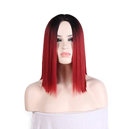 Damen Perücke schwarz Wein Rot Farbverlauf glattes Haar Perücke