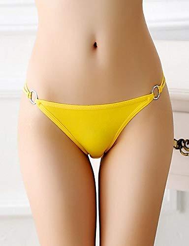 Tanga amarillo sencillo para mujer