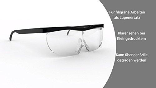 Vergrößerungsbrille Lupenbrille Zauberbrille Lupe auf der Nase optische Vergrößerung auf 200% inkl. Softbag das Original aus dem TV (Schwarz)