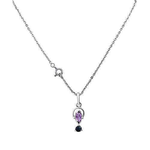 Orchid Jewellery Geburtsstein Februar von Orchid Jewellery, Amethyst und Saphir, Anhänger für Damen, Sterlingsilber, Amethyst, Geschenk für Damen, 0,83 Karat