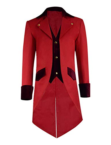 IDEALcos Kids Showman Performance Uniform Gothic Frack Jacke Steampunk viktorianischen Mantel Halloween Outfit Cosplay Kostüm (Little Boys-2T, Rot 3)