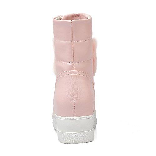 AgooLar Damen Mitte-Spitze Ziehen auf Mittler Absatz Rund Zehe Stiefel, Pink, 36