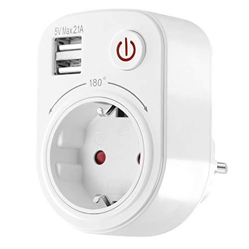 USB Ladegerät Steckdosenadapter 2100mA drehbar schwenkbar Kinderschutz Schalter Reiseadapter weiß -