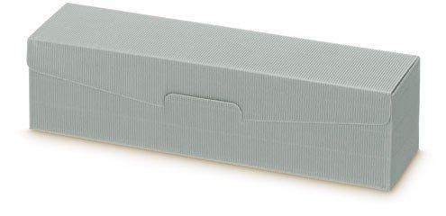 Preisvergleich Produktbild 1 Verpackungseinheit (50 Stück) Präsentkartons<br / >Modern Grau<br / >Offene Welle - innen grau<br / >1er Wein / Sekt liegend<br / >L 380 x B 95 x H 90 mm