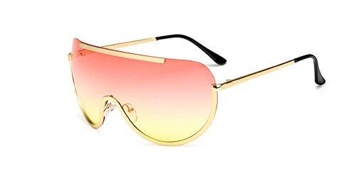 Hykis - Retro ¨¹bergro?e Sonnenbrille-Frauen Schild Metallhalbrahmen Sonnenbrillen M?nner Gro?e Sonnenbrille Brillen UV400-Feld [up rosa unten gelb]