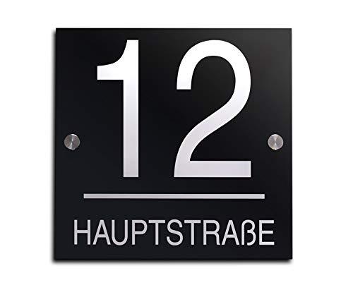 Hausnummer mit Gravur Straße und Ziffern Zahlen wetterfest in versch. Größen ab 16x16 cm quadtratisch Edles Hochglanz Acrylglas in schwarz und anthrazit Hausnummern Schild für Garten Haus -
