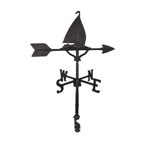 Montague Metal Products Wetterfahne mit Segelboot, satiniert, 81 cm (Wetterfahne Nautische)