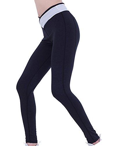 Donna Yoga Athletic Fitness Yoga Leggings Pantaloni Sportivi Pantaloni Stretti Palestra Bianca