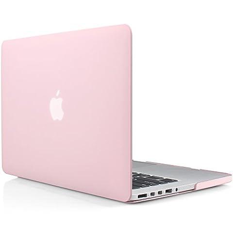 iDOO MacBook Schutzhülle / Hard Case Cover Laptop Hülle [Für MacBook Pro 13 Zoll mit Retina Display - ohne CD-Laufwerk: A1425/A1502] - matt, Hellrosa