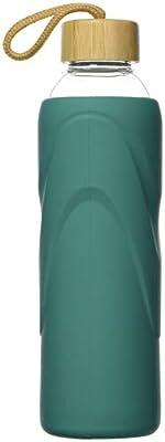 FCSDETAIL Sport Borosilikat Trinkflasche Glas Wasserflasche mit Silikonhülle mit Bambusdeckel 420ml / 660ml / 1000ml