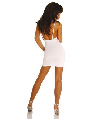 Minikleid Kleid V-Ausschnitt Einheitsgröße für S-M (Onesize) und XL-XXL - Schwarz, Rot oder Weiß Weiß