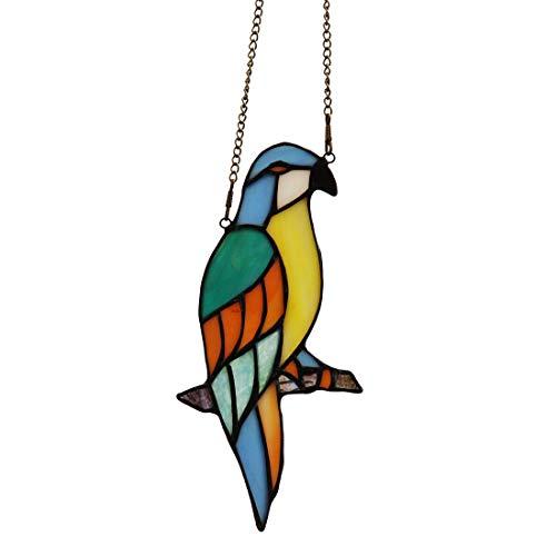 makenier Tiffany-Stil gebeizt Glas blau Papagei Fenster Aufhängen Sun Catcher