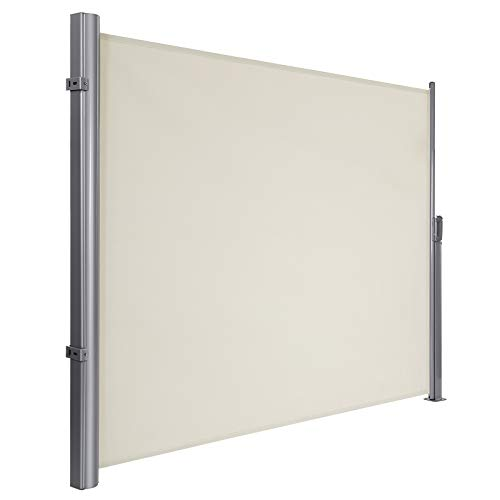 SONGMICS 180 x 300 cm (H x L), Seitenmarkise für Balkon und Terrasse, TÜV SÜD GS Zertifiziert, Sichtschutz, Sonnenschutz, Seitenrollo, Beige GSA180E