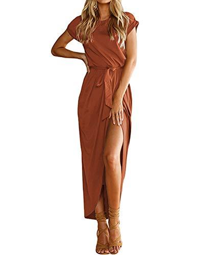 YOINS Sommerkleid Damen Lang Maxikleider für Damen Strandkleid Sexy Kleid Kurzarm Jerseykleider Strickkleider Rundhals mit Gürtel Kaffee EU46