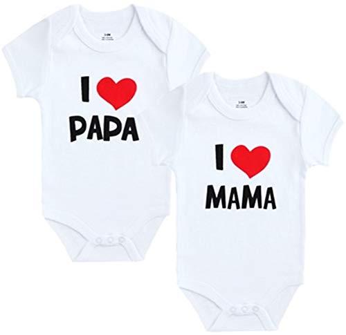 Unbekannt 2er Pack Baby Body weiß I Mama & I Papa Größe 0-9 Monate (0-3 Monate)