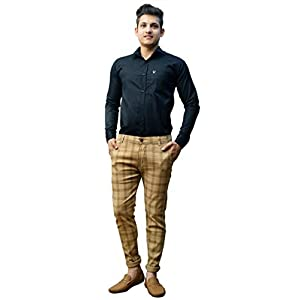 AOLOPY-9 Men's Cotton Checkered Trousers