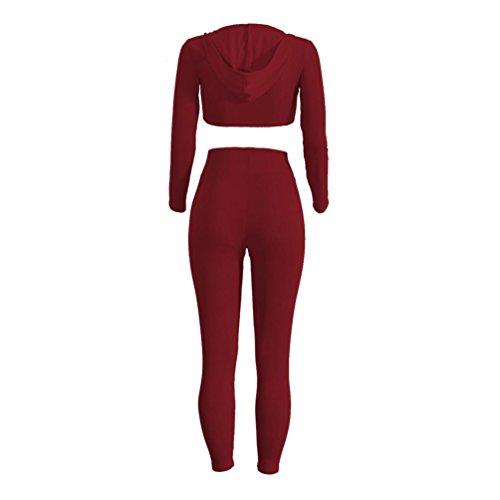 Ensemble de vêtements femmes , Transer ® Sportswear Womens 1PC Tops + 1PC pantalons Casual Bodycon Outfit Vin