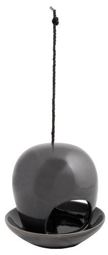 Esschert Design Vogelhaus, Vogelfutterhaus mit Kuppel aus Keramik in grau, zum Aufhängen, ca. 19 cm x 19 cm x 18 cm