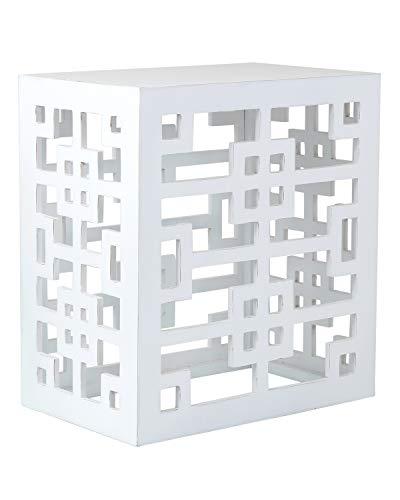 East Bei Main Wilkenson Quadratisch Accent Tisch, Farn Weiß, (21,5x 14x 23,5) - Rattan-quadratischer Tisch